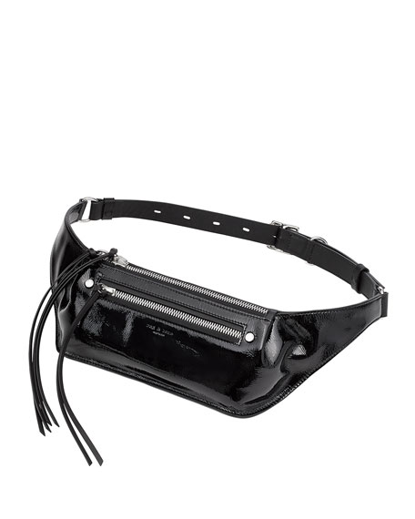 Ellis Patent Leather Fanny Pack - Grey in Black Patent