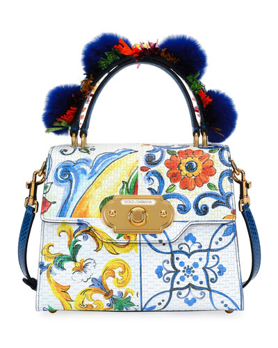 Welcome Medium Painted Leather Top-Handle Bag with Fur