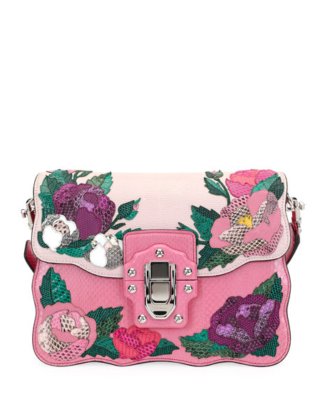 Lucia Snake Roses Shoulder Bag