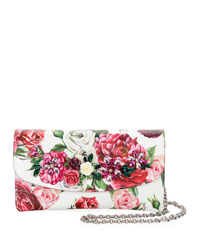 Floral-Print Leather Wallet on Chain