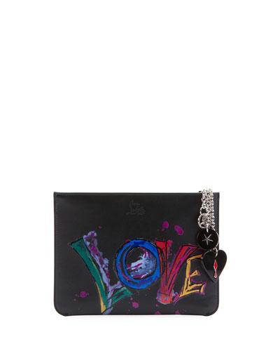 Loubicute Calf Paris Love Charms Clutch Bag