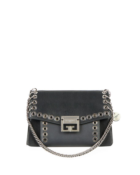 Gv3 Eyelet And Rings Leather Shoulder Bag - Black