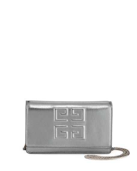 Emblem Metallic Leather Chain Wallet - Silver