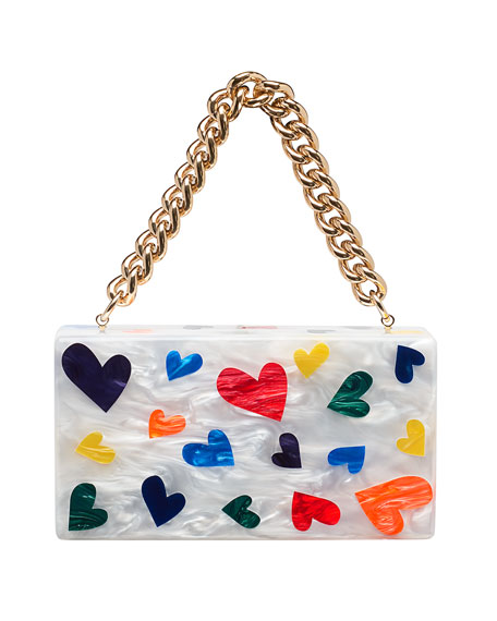 Jean Mini Hearts Clutch Bag, White Pattern
