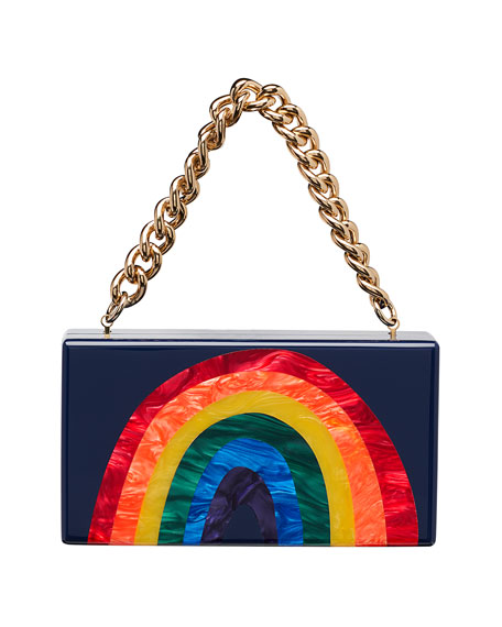 Edie Parker Jean Rainbow Hard Clutch Bag