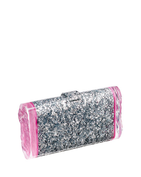 Edie Parker Lara Backlit Confetti Clutch Bag