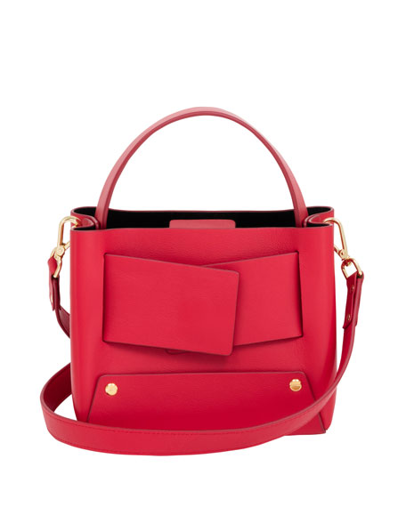 YUZEFI LIMITED Dinky Leather Shoulder Bag in Red
