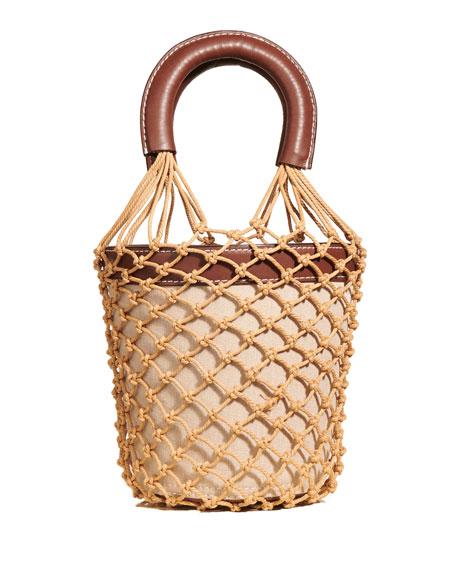 Brown Check Moreau Macramé And Leather Bucket Bag, Chocolate