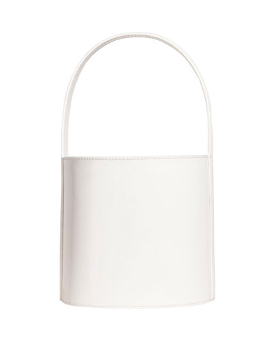 Leather Bisset Smooth Top Handle Bag, White