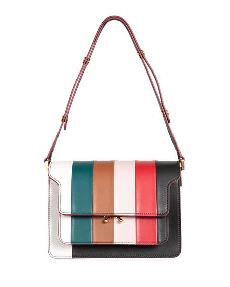 MARNI Stripe Borsa Tracolla Large Shoulder Bag, Multi Pattern