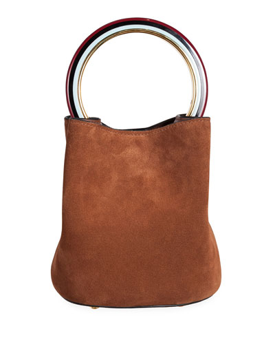 Suede Circle Bucket Bag