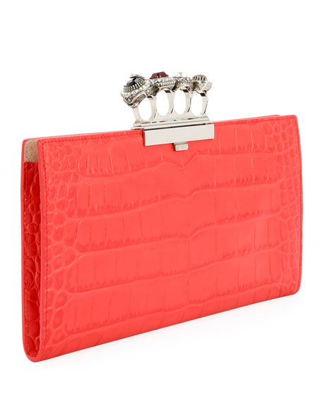 Jeweled Four Ring Crocodile-Embossed Clutch Bag, Red