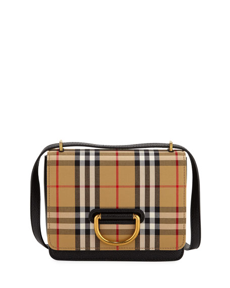 Image 1 of 1: Small D-Ring Check Crossbody Messenger Bag