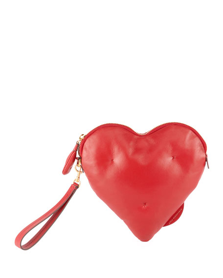 Chubby Heart Leather Clutch - Red