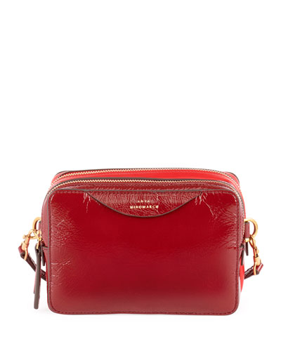 Stack Double Shiny Wallet on a Strap, Red