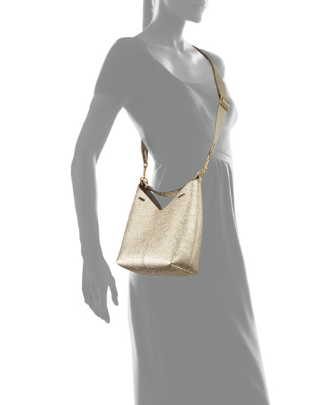Build A Bag Mini Crinkled Metallic Hobo Bag, Light Gold