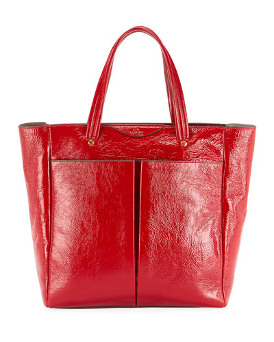 Nevis Shiny Tall Tote Bag, Red