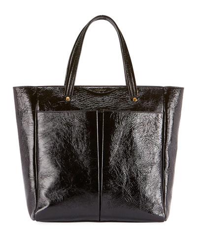 Nevis Shiny Tall Tote Bag, Black