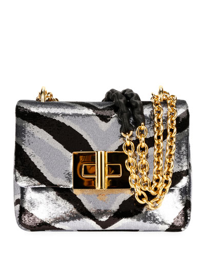 Natalia Zebra Sequins Large Shoulder Bag