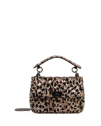 Spike.It Medium Leopard Sequined Shoulder Bag