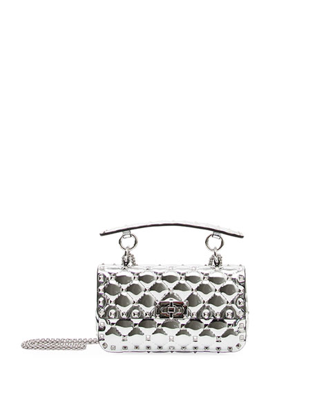 5ca7e0a3c163c Valentino Garavani Rockstud Spike Small Metallic Leather Shoulder Bag