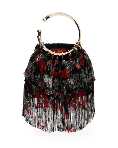 Bebop Loop Animalier Fringe Clutch Bag
