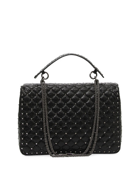 Rockstud Spike Maxi Lamb Leather Shoulder Bag