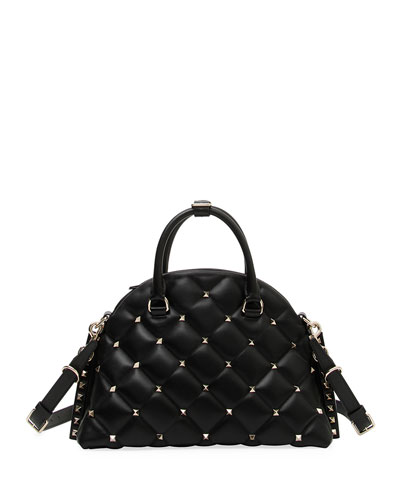 Candystud Quilted Leather Dome Top Handle Bag