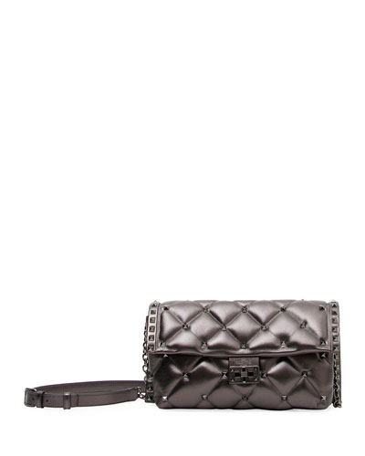 Candystud Metallic Leather Shoulder Bag