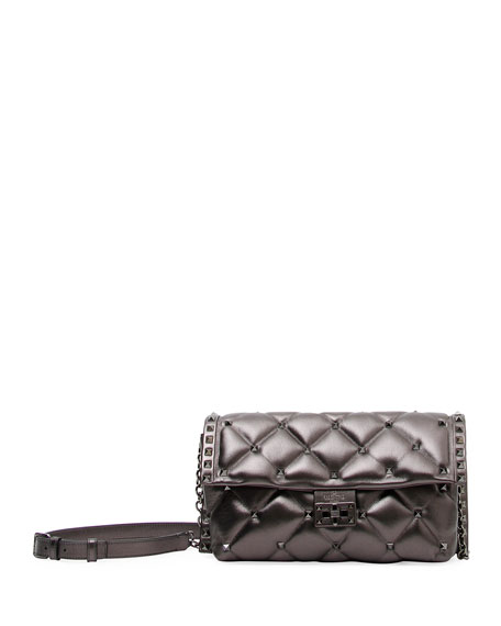 Candystud Metallic Leather Shoulder Bag