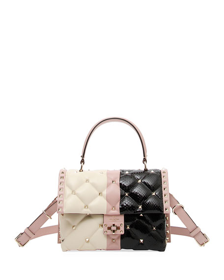 Candystud Colorblock Leather/Snake Top-Handle Bag