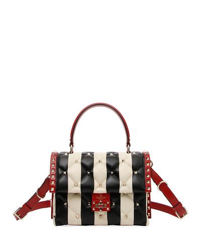 Candystud Striped Top-Handle Bag