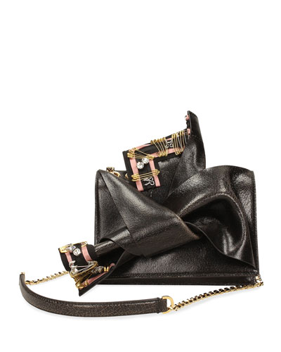 Cracked Leather Small Bow Bag