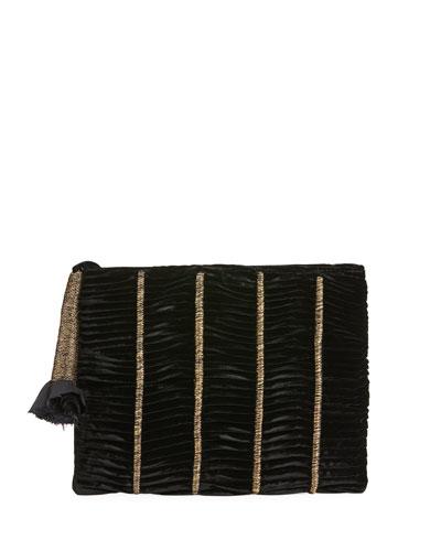 Embroidered Velvet Clutch Bag