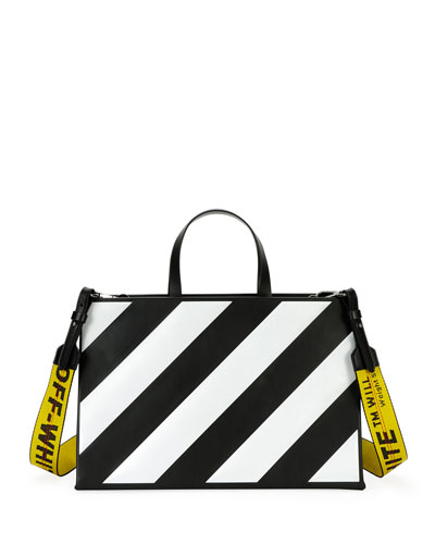 Medium Diagonal-Stripe Box Tote Bag