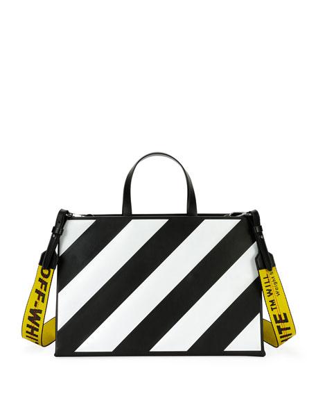 Medium Diagonal-Stripe Box Tote Bag