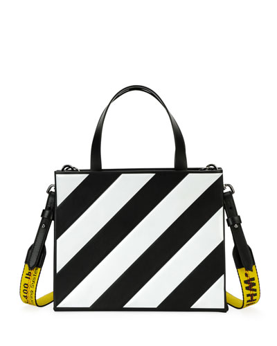 Small Diagonal-Stripe Box Tote Bag