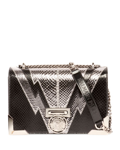 Box 25 Snakeskin Flap Shoulder Bag