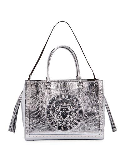 Crinkled Metallic Top Handle Bag