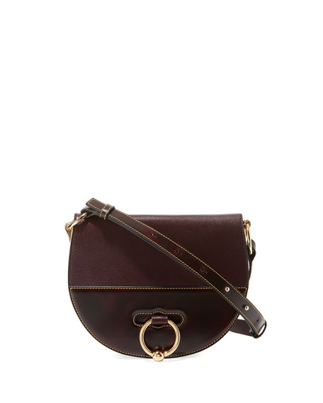 Latch Sheepskin Leather Saddle Shoulder Bag, Burgundy