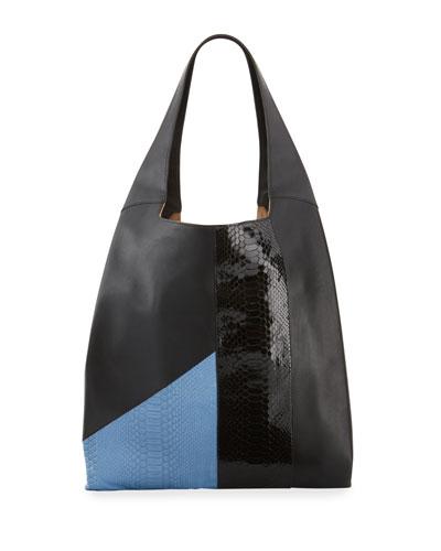 Grand Shopper Smooth Tote Bag, Blue/Black