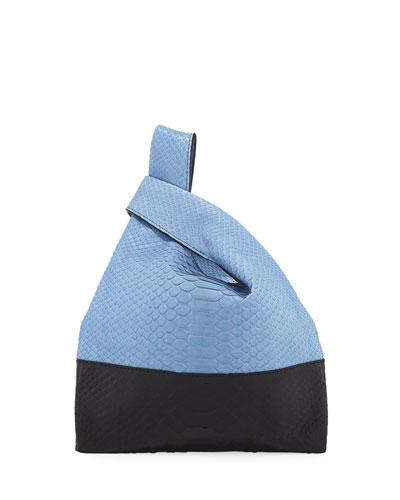 Two-Tone Mini Python Shopper Tote Bag, Blue/Black