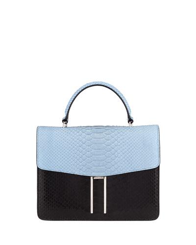 Two-Tone Python Top Handle Bag
