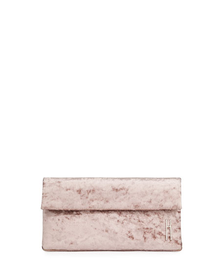 HAYWARD EAST WEST CRUSHED VELVET CLUTCH BAG, PINK