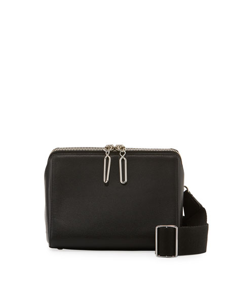 Ray Triangle Leather Crossbody Bag - Black