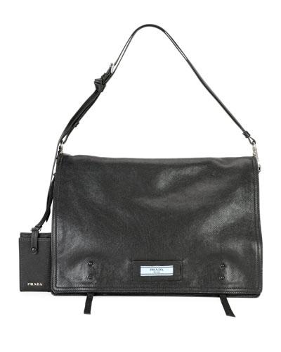 Etiquette Large Glace Calf Leather Shoulder Bag