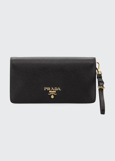 Saffiano Mini Flap Tech Crossbody Bag