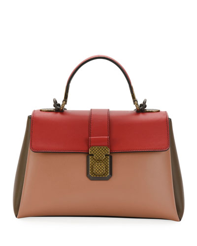 Colorblock Leather Top Handle Bag