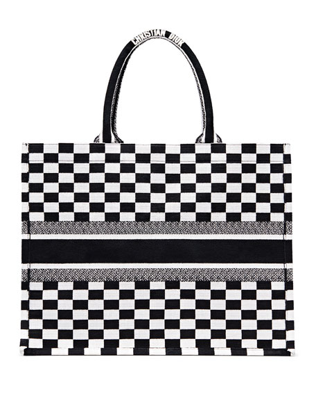 Checkered Logo Embroidered Book Tote