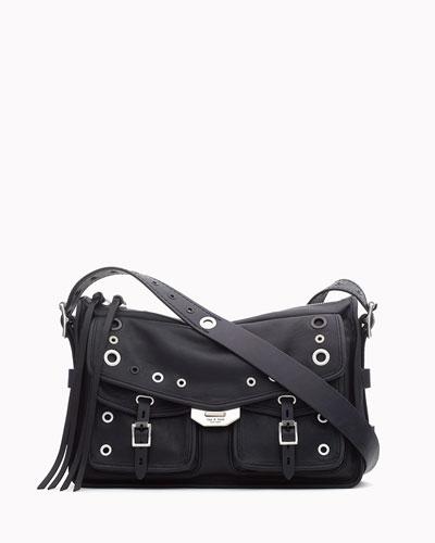 Grommet Field Leather Messenger Bag